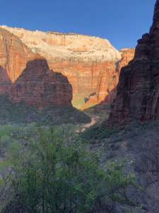 Morning sun and shadow in Zion Canyon