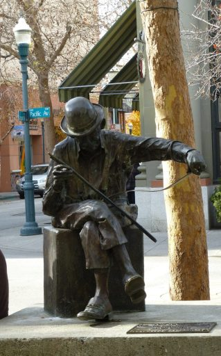 Statue of a musical saw player