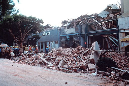 Rescue efforts in downtown Santa Cruz after the Loma Prieta earthquake