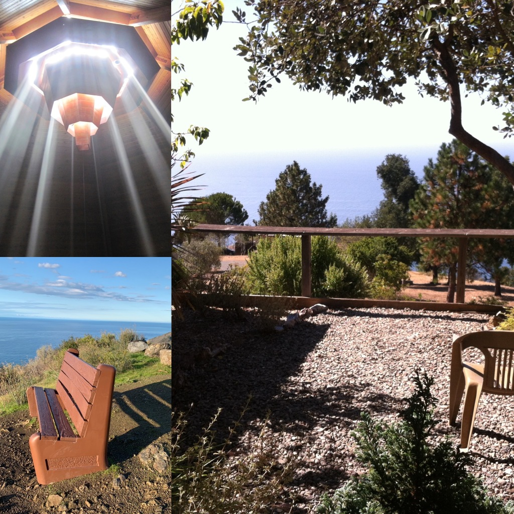 A collage of sunbeams streaming into the sanctuary at New Camaldoli, a bench on  a cliff overlooking the ocean, and a garden